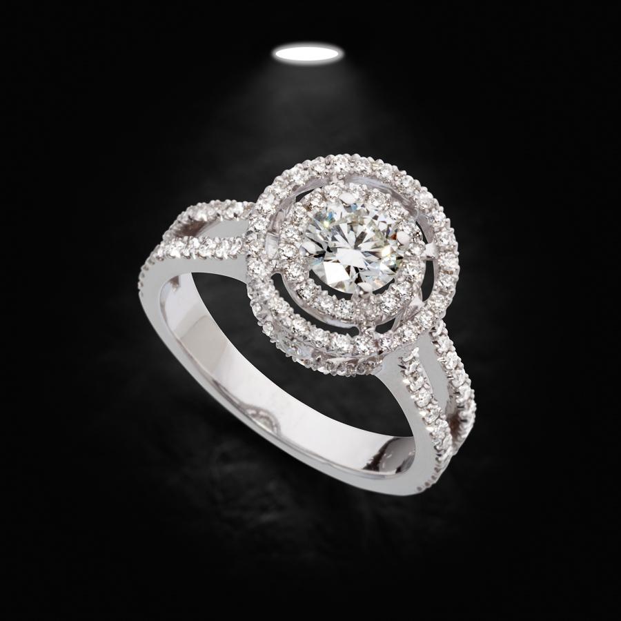 טבעת אירוסין זהב לבן משובצת