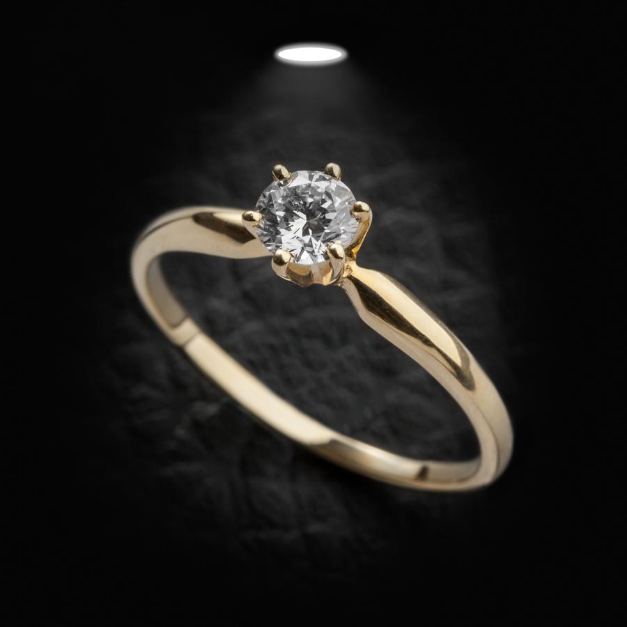 טבעת אירוסין סוליטר זהב צהוב עדין