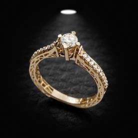 טבעת אירוסין זהב צהוב עם חריטות