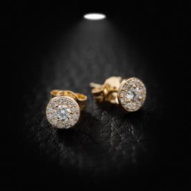 עגילים זהב צהוב עם יהלומים