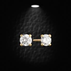 עגילים זהב צהוב יהלום עדין