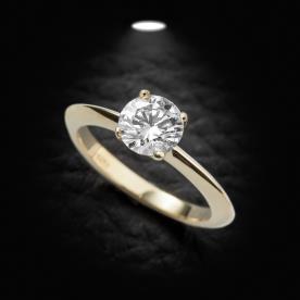 טבעת אירוסין סוליטייר זהב צהוב