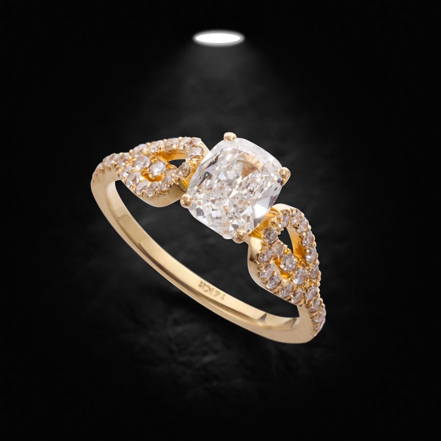 טבעת אירוסין זהב צהוב וינטג'
