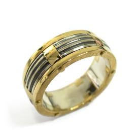 טבעת זהב משולבת כסף
