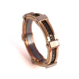 טבעת נישואין מעוטרת יהלום שחור