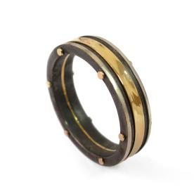 טבעת נישואין משולבת רודיום