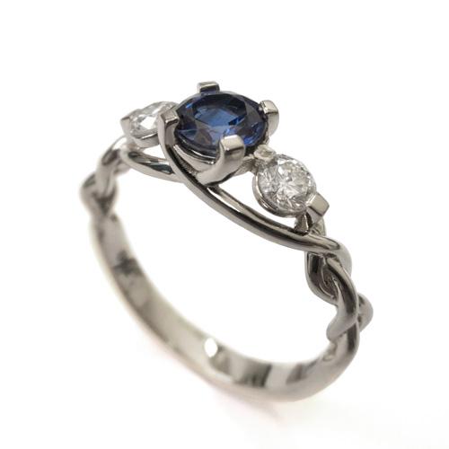 טבעת קלועה שלוש אבנים