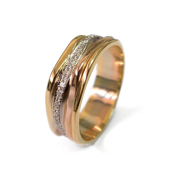 טבעת משולבת זהב אדום