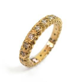 טבעת קלועה זהב משובצת