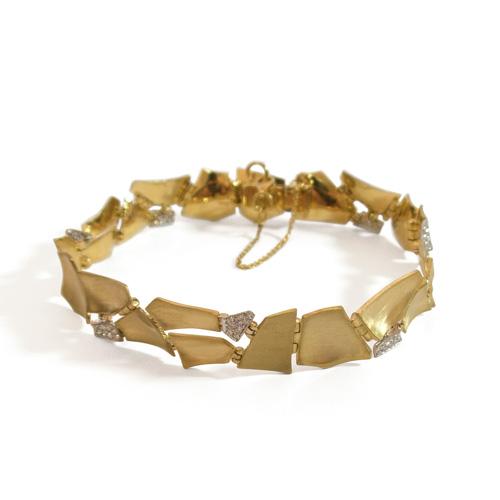 צמיד זהב צהוב משולב יהלומים