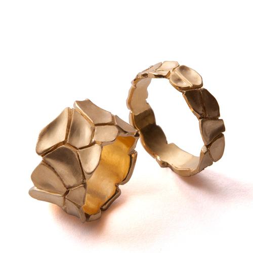 זוג טבעות זהב תואמות