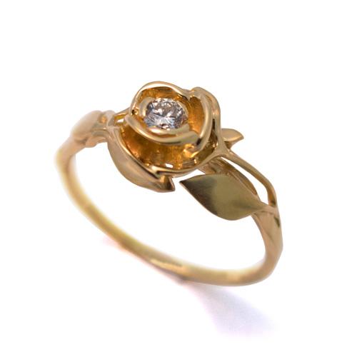 טבעת זהב עדינה משובצת יהלום