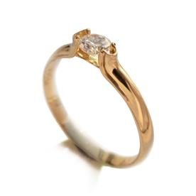 טבעת זהב צהוב סוליטייר