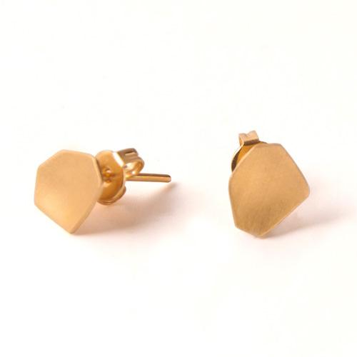 עגילי זהב צמודים גיאומטריים