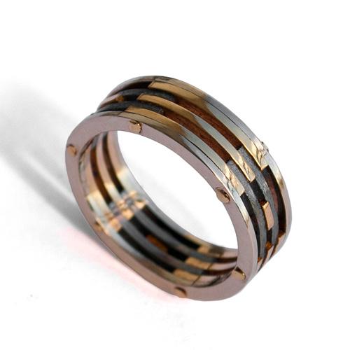 טבעת נישואין מושלבת לגבר