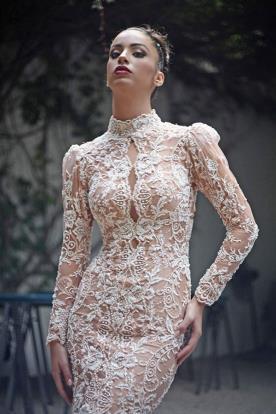 שמלת כלה צנועה שרוולים מכווצים