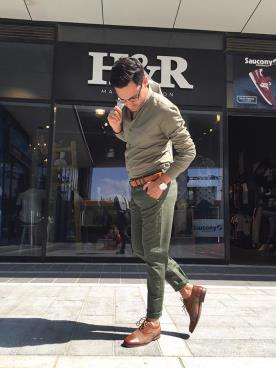 חליפת חתן חולצה ומכנסיים ירוקים