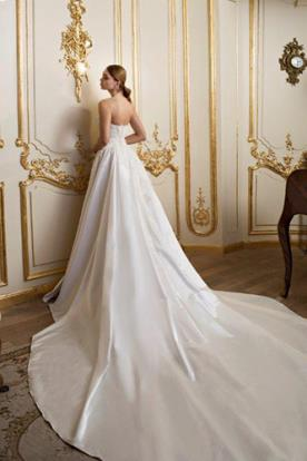 שמלת כלה שובל משי שמנת ארוך