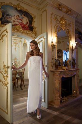 שמלת כלה שמנת סטרפלס