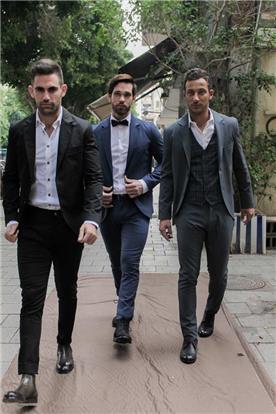 חליפת חתן: חולצה, וסט, חליפת שלושה חלקים, מכנסיים, בלייזר, חליפה בדוגמה משובצת, חליפה בדוגמה חלקה, חליפה בצבע לבן, חליפה בצבע שחור, חליפה בצבע אפור, חליפה בצבע כחול נייבי - IZAK MEN'S WEAR-איזק חליפות חתן