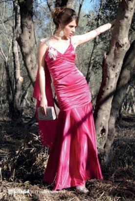 שמלת כלה ורודה עם כיווצים ארוכה