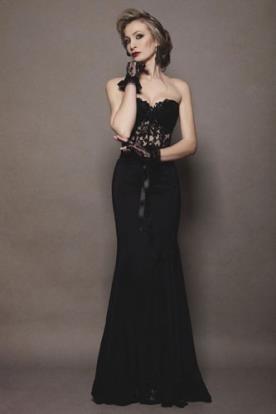 שמלת ערב מחוך תחרה שחור