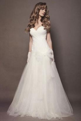 שמלת כלה נסיכתית כיווצים פפיון טול