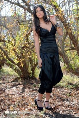 שמלת ערב אוברול מכנס רחב כיווצים