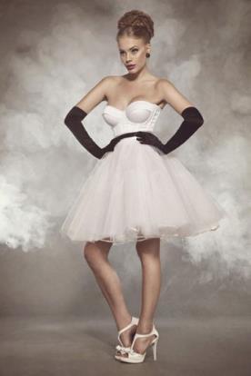 שמלת כלה מיני מחוך עם טול נפוח