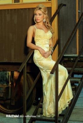 שמלת ערב צהובה תחרה ארוכה