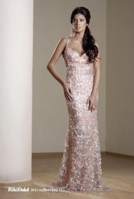 שמלת ערב ורודה מקסי מנצנצת