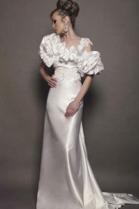 שמלת כלה נשפכת אוף שולדר סאטן