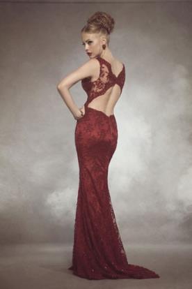שמלת ערב אדומה גב חשוף ארוכה