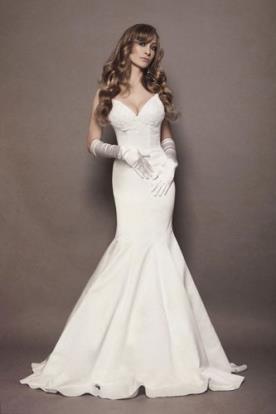 שמלת כלה תחרה וסאטן עדינה לבנה