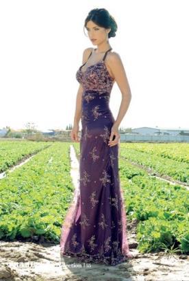 שמלת ערב סגולה עם תחרה