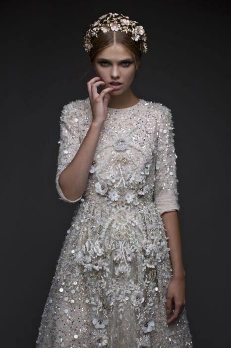 שמלת כלה עם שרוול שלושת רבעי - תקריב