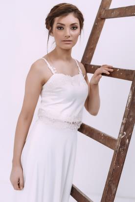 שמלת כלה שני חלקים גופיה נשפכת
