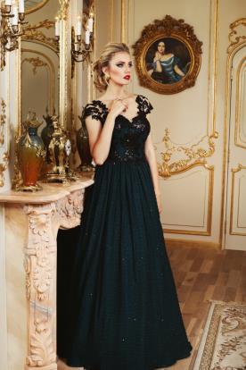שמלת ערב שרוולי תרחה קצרים