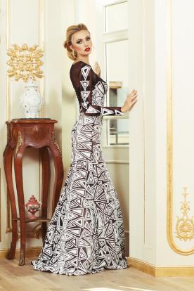 שמלת ערב צנועה הדפס משולשים
