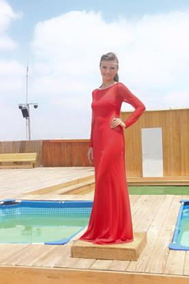 שמלת ערב אדומה צנועה