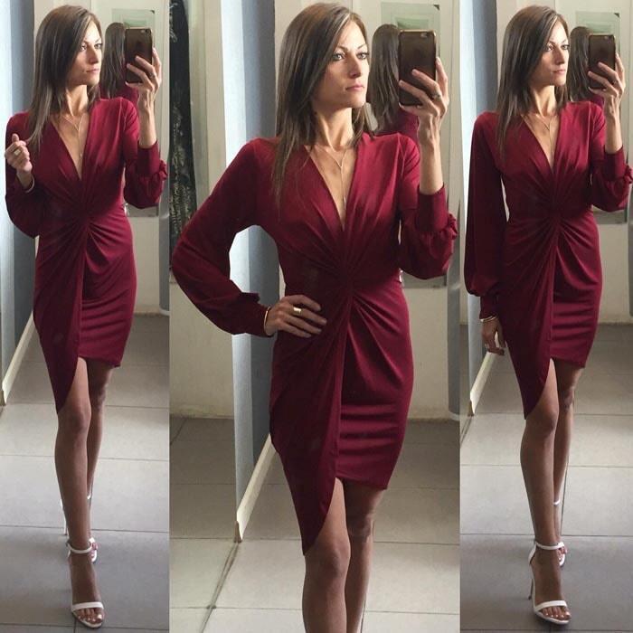 שמלת ערב: קולקציית 2019, שמלה בצבע בורדו, שמלה בסגנון נועז, שמלה עם תחרה, שמלה עם שרוולים - natalie שמלות ערב