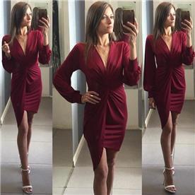 שמלת ערב: קולקציית 2019, שמלה בצבע בורדו, שמלה בסגנון נועז, שמלה עם תחרה, שמלה עם שרוולים - נטלי natalie שמלות ערב
