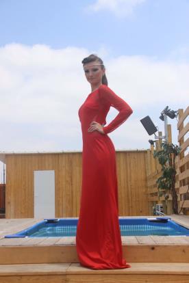 שמלת ערב אדומה מקסי