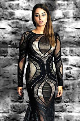 שמלת ערב תחרה שחורה וכסף