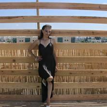 שמלת ערב שחורה קצרה מקדימה