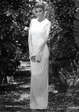 שמלת כלה חורפית עשויה תחרה ומשי