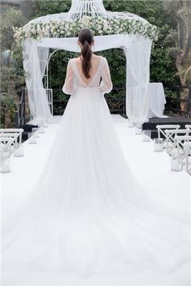 שמלה ערב עם שרוול קצר