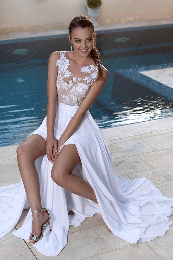 שמלה רומנטי עם טופ סמי שקוף
