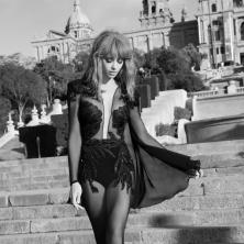 שמלת ערב שחורה משיפון בקישוט פייטים