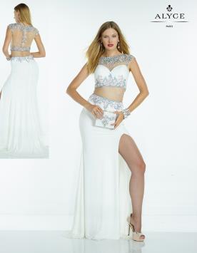שמלת ערב לבנה עם אבנים